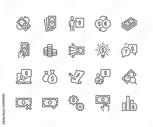 Simple Set of Money Related Vector Line Icons Canvas Print