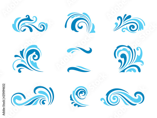 Obraz Wave icons, set of simple swirls and splashes on white - fototapety do salonu