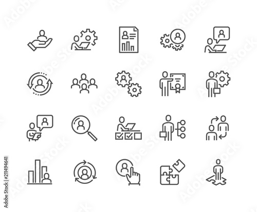 Fotomural  Simple Set of Business Management Related Vector Line Icons