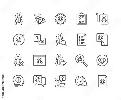 Simple Set of Quality Assurance Related Vector Line Icons Wallpaper Mural