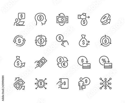 Valokuvatapetti Simple Set of Money Movement Related Vector Line Icons