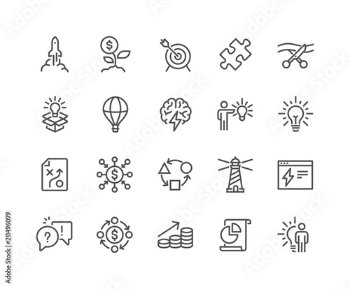 Simple Set of Startup Related Vector Line Icons Wallpaper Mural