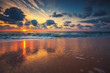 Beautiful sunrise over the sea. July morning.