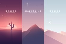 Desert And Mountain Landscape. Background Illustration