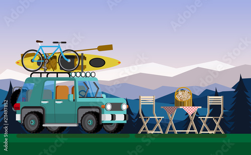 Recreation in nature. Car with boat and bike in the nature. The concept of camping and outdoor recreation. Flat style. Flat design. Vector illustration Eps10 file