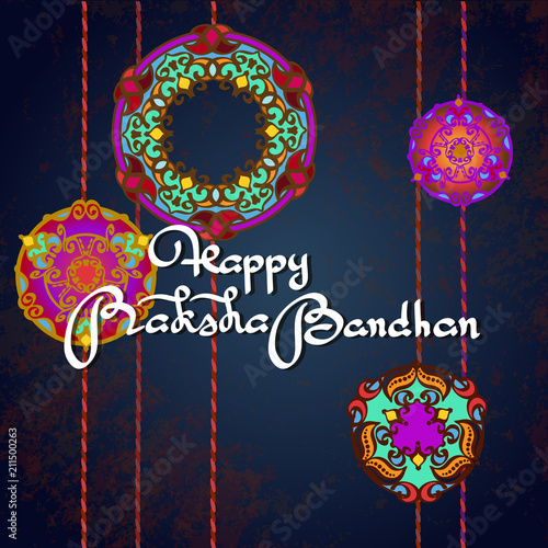 Fotografering  Raksha bandhan vector greeting card design.