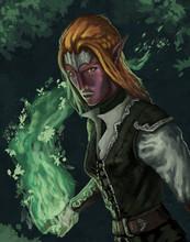 Female Elf Mage Wielding Natural Organic Magic Spells  - Digital Fantasy Painting