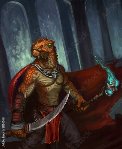 In de dag Bruin Dragon-kin warrior protecting an underground lair - digital fantasy painting
