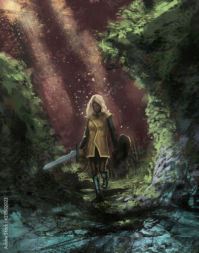 Canvas Prints Cappuccino Female adventurer in a dangerous forest with her magic sword going on a quest - Digital fantasy painting