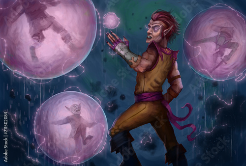 Photo  Mage casting a spell on a group of enemy goblins   - Digital fantasy painting
