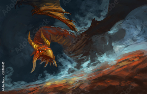 Obrazy smoki red-dragon-poised-with-blue-magic-fog-swirling-around-him-digital-fantasy-painting