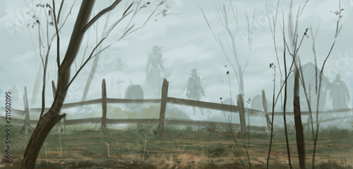Old english graveyard inhabited by undead ghosts dressed in period outfits - digital fantasy painting