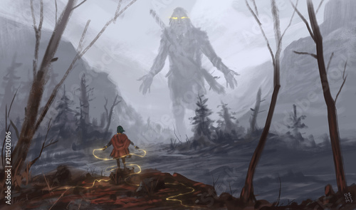 Photo Young female mage possessing a hill giant with magic - Digital fantasy painting