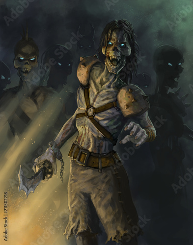 Photo  Undead pirate zombies coming after an adventurer - Digital fantasy painting