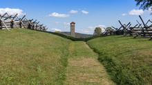 A View Down The Sunken Road, Or Bloody Lane, Looking Towards The Observation Tower, Site Of One Of The Bloodiest Battles At Antietam National Battlefield In Sharpsburg, Maryland.