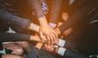 Leinwanddruck Bild - Business Team Stack Hands Support Teamwork Concept.