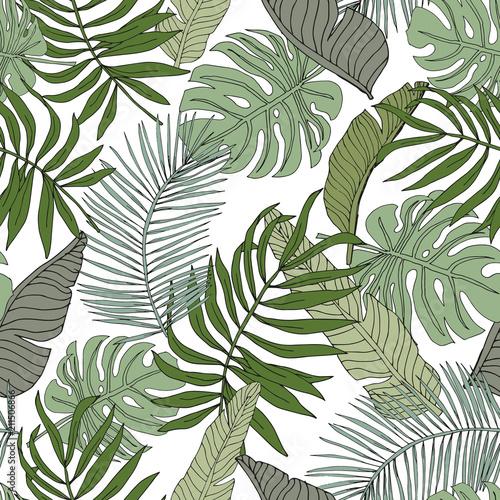 zielony-banan-monstera-lisci-palmowych-z-bialym-tlem-wektorowy-bezszwowy-wzor-ilustracja-lisci-tropikalnej-dzungli-egzotyczne