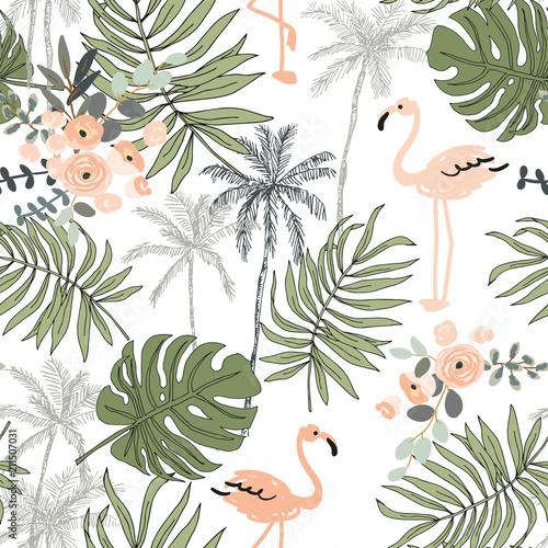 rumieniec-flaming-palmy-liscie-z-bialym-tlem-wektor-wzor-ilustracja-lisci-tropikalnej-dzungli-zielen-roslin-egzotycznych-lato