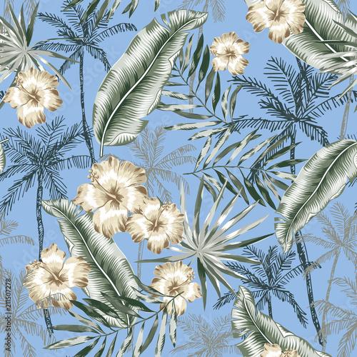 tropikalne-kwiaty-hibiskusa-palmy-liscie-banana-z-niebieskim-tle-wektorowy-bezszwowy-wzor-ilustracja-dzungli-egzotyczne-ro