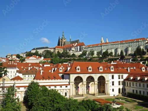 Plakat Panorama Praga Stary Dziejowy kasztel Podczas dnia, Hradcany, republika czech