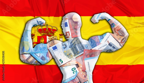 Abstract Business Background Concept Of Ful European Euro Flag Spain And Bodybuilder Shaped