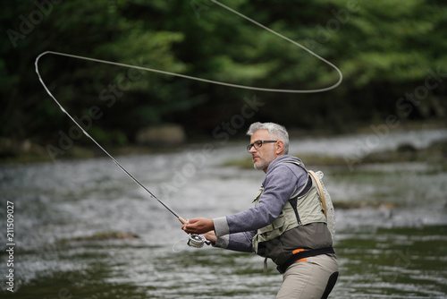 Tablou Canvas Fisherman fly-fishing in river