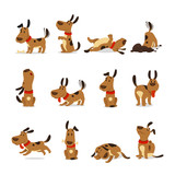 Fototapeta Fototapety na ścianę do pokoju dziecięcego - Cartoon dog set. Dogs tricks and action digging dirt eating pet food jumping sleeping running and barking vector illustration
