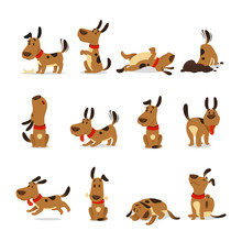 Cartoon Dog Set. Dogs Tricks A...