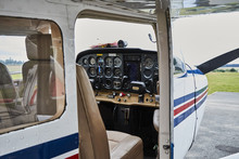 Detailed View Of Cessna 172 Skyhawk 2 Airplane Interior Standing On A Runway.