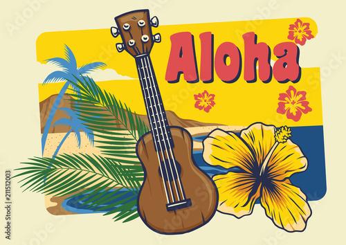 Photo aloha hawaii ukulele in vintage style