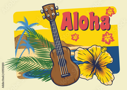 aloha hawaii ukulele in vintage style Wallpaper Mural
