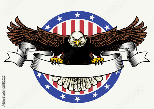 Fotografia american bald eagle hold the blank ribbon for text