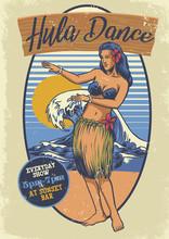 Vintage Hawaiian Girl Hula Dance