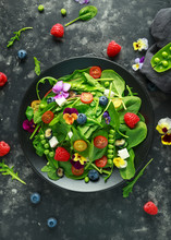 Summer Salad With Edible Flowe...