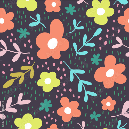 plakat Seamless pattern with flowers scandinavian style