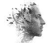 canvas print picture - Paintography. Double exposure. Close up of man with strong features and flawless skin dissolving behind hand painted floral watercolor and pen painting