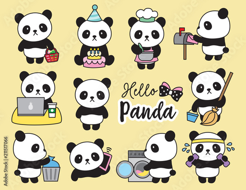 Fototapeta premium Ilustracja wektorowa czynności planowania cute panda, w tym gotowanie, sprzątanie, praca, pranie, ćwiczenia, zakupy spożywcze itp.