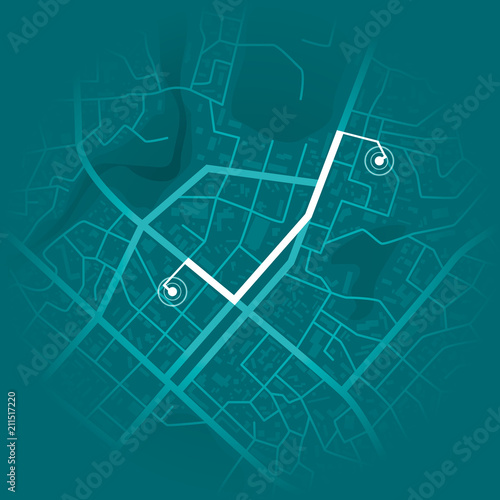 GPS system concept. Blue city map with route markers. Vector illustration Wall mural