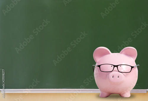 Photo Pink pig with glasses