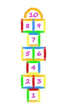 Kids Illustration With Brush Strokes Hopscotch Game. Children Street Game. Vector EPS-10