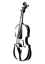 Violin Outline - Black And Whi...