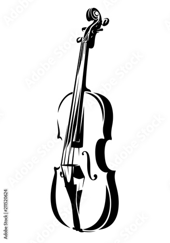 Fototapeta violin outline - black and white stringed musical instrument vector design