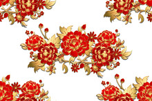 Seamless Pattern With Red Flowers With Golden Leaves