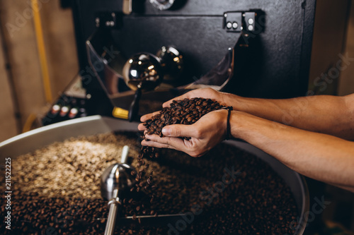 Fotografie, Obraz  Man's hands holding freshly roasted aromatic coffee beans over a modern coffee roasting machine