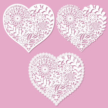 A Set Of Openwork Hearts With Flowers. For Laser Cutting. For The Design Of Wedding Cards, Menus And So On. For The Namesake Of Paper, The Metal