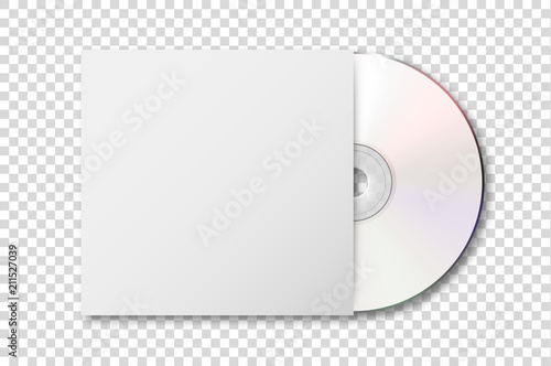 Obraz Vector realistic 3d white cd with cover icon isolated on transparency grid background. Design template of packaging mockup for graphics. Top view - fototapety do salonu