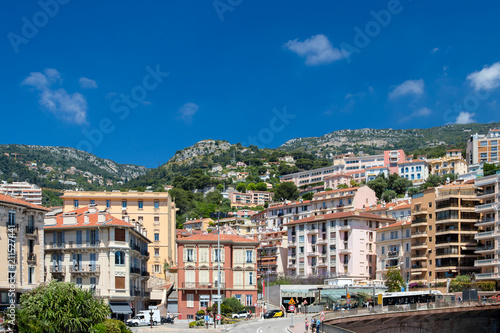 Deurstickers Mediterraans Europa Daylight sunny view to city buildings and green trees on mountains. Monte Carlo, Monaco