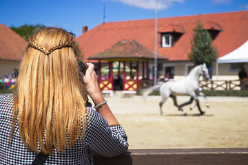 Woman taking picture of horse on horse show