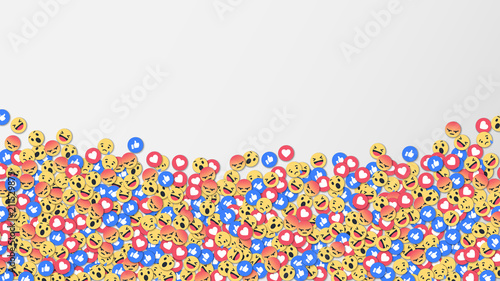 Social network reactions icon background, vector illustration