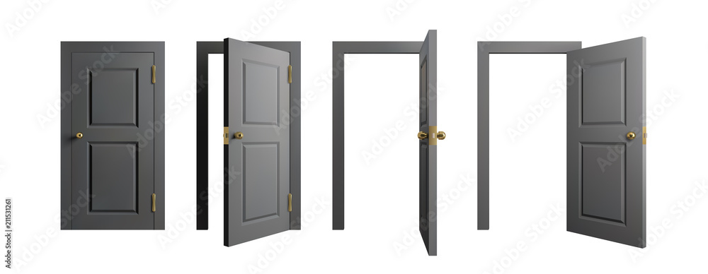 Fototapeta Doors set. Front view opened and closed door. Realistic isolated vector illustration.